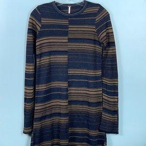 Free People Blue Gold Striped Knit Mini Dress